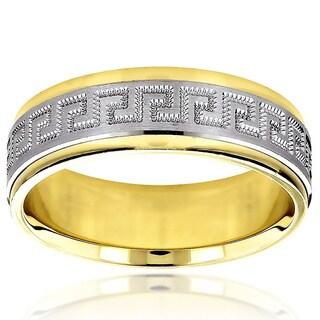 Luxurman 14k Two-tone Gold Wedding Band