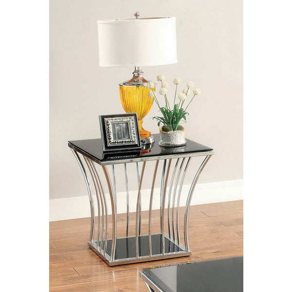 Furniture of America Hice Modern Black Glass Curved End Table