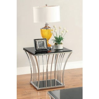 Furniture of America Confidante Curved Chrome End Table
