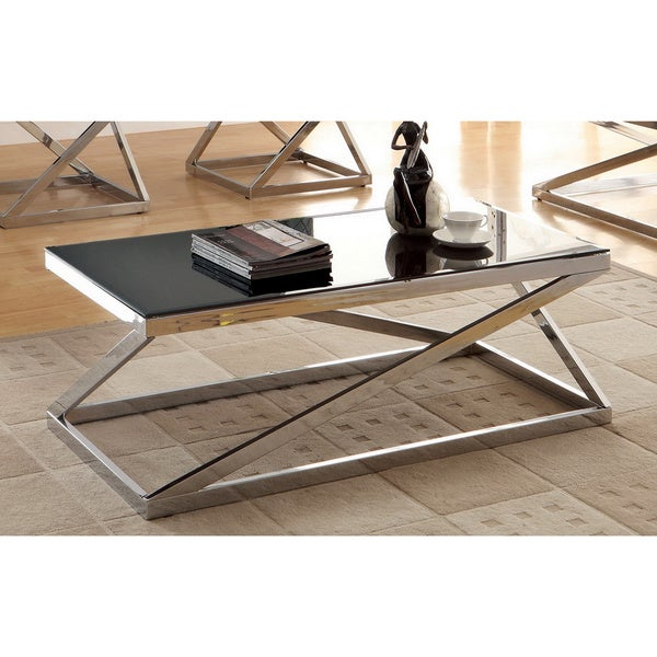 Black And Chrome Coffee Table Set: Furniture Of America Krystalle Chrome And Black Glass Top