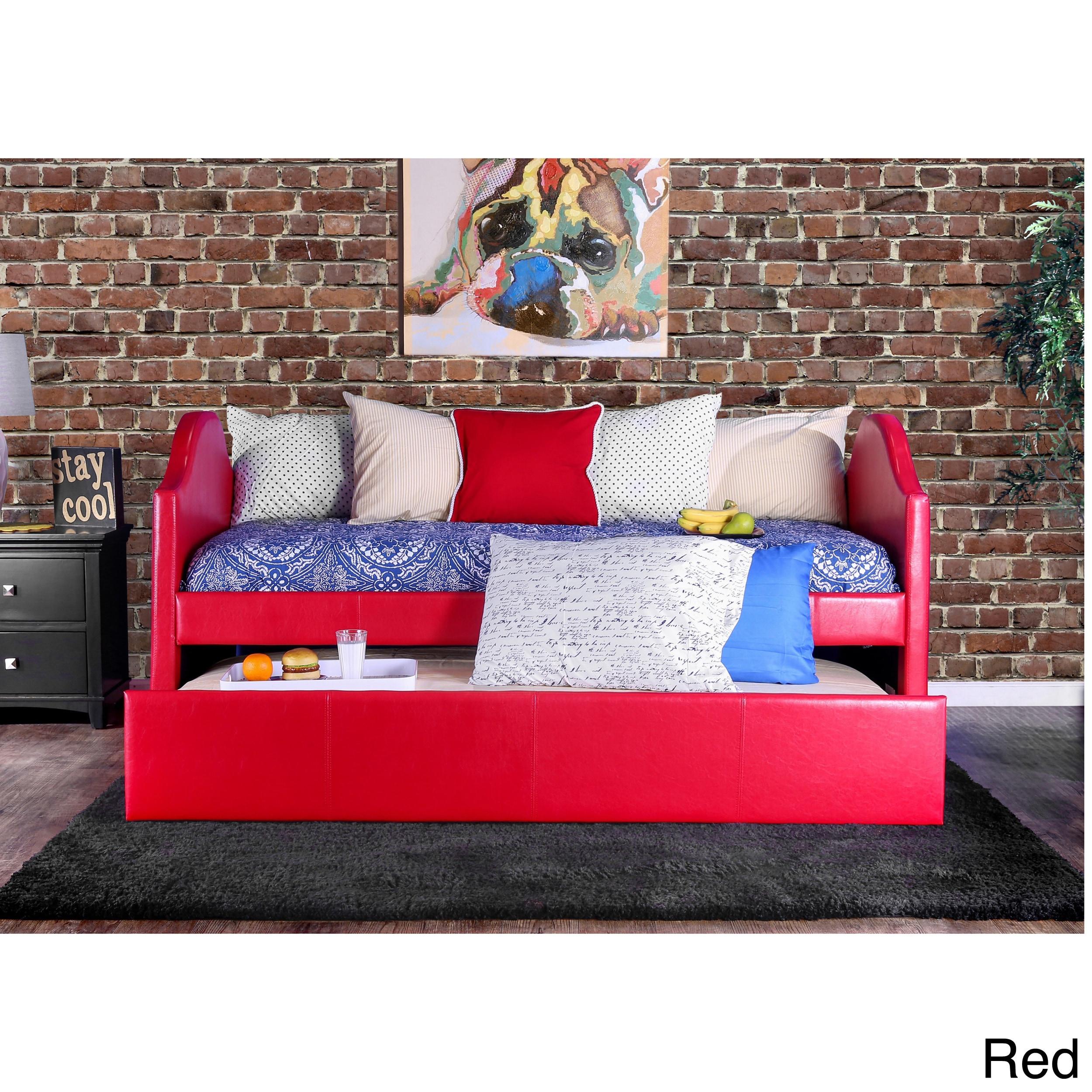 Furniture of America Camillia Leatherette Platform with T...