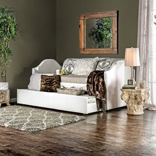 Furniture of America Camillia Leatherette Platform with Twin Trundle Daybed|https://ak1.ostkcdn.com/images/products/8876694/P16100956.jpg?impolicy=medium