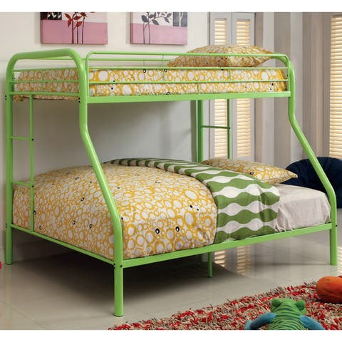 Furniture of America Hind Transitional Orange Twin/Full Metal Bunk Bed
