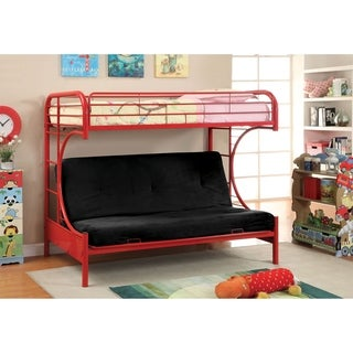 Furniture of America Linden Twin Over Futon Metal Bunk Bed (Option: Orange)