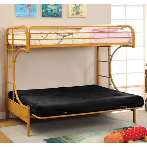 Furniture of America Hind Transitional Red Twin/Futon Metal Bunk Bed