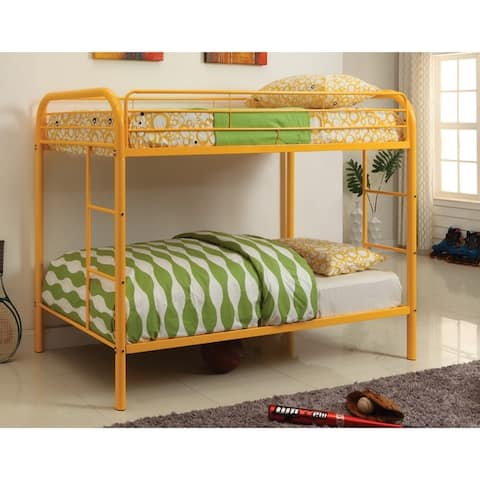 Furniture of America Hind Transitional Green Twin/Twin Metal Bunk Bed