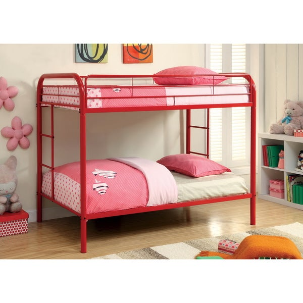 furniture of america linden twin over twin metal bunk bed - free