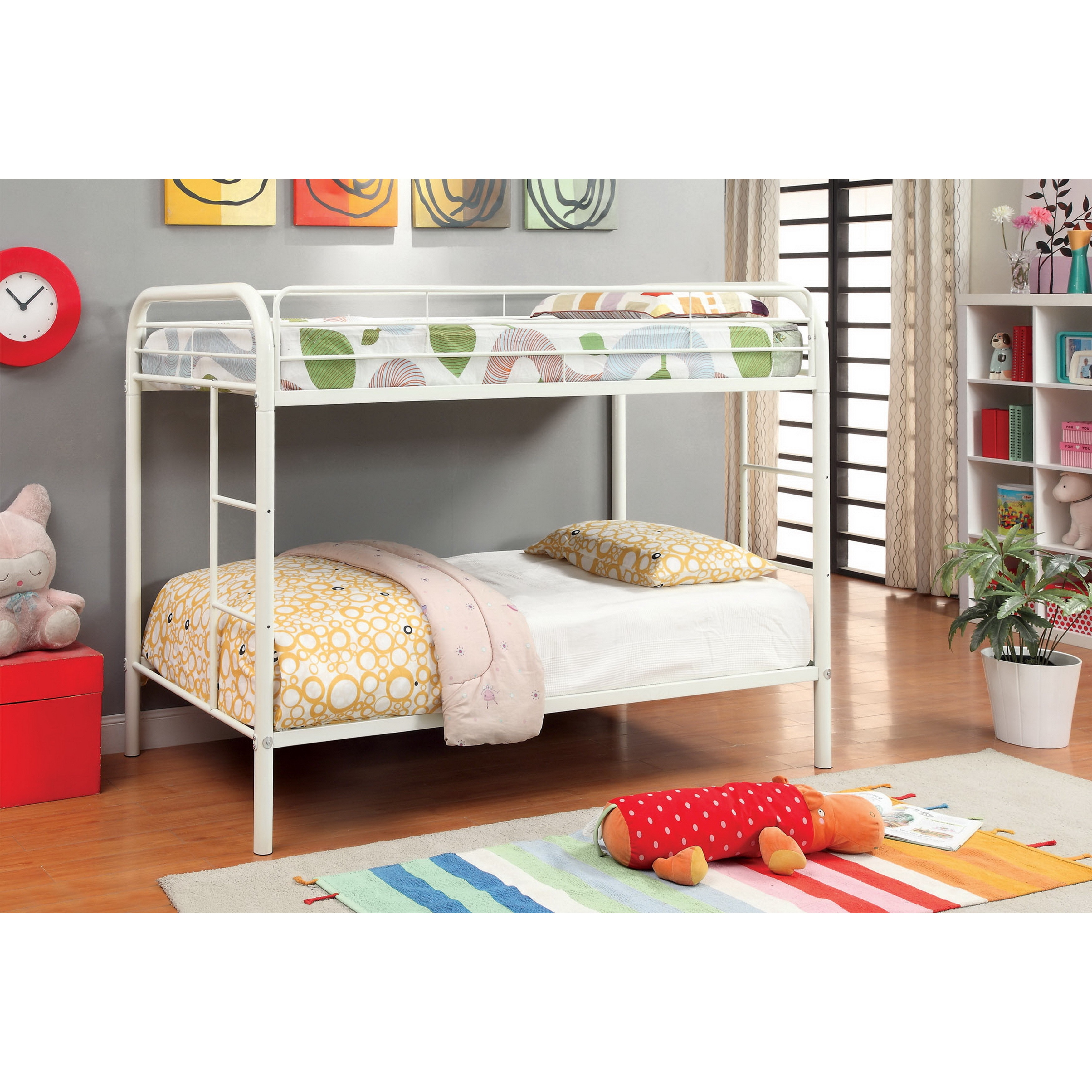 Furniture of America Linden Twin Over Twin Metal Bunk Bed...