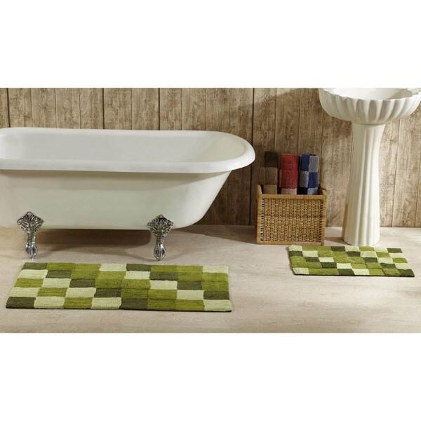 Tiles Tufted Cotton 2-piece Bath Rug Set by Better Trends - 40 x 24