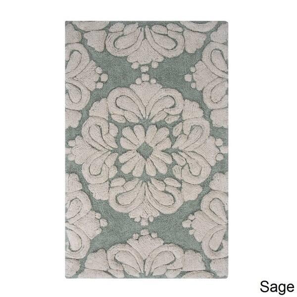 2 Piece Medallion Pattern Cotton Tufted Bath Rug Set By