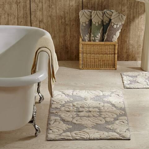 Better Trends Medallion Collection 2 Piece Set 100% Cotton Tufted Bath Mat Rug Set