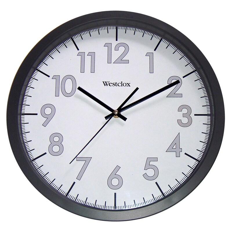 Westclox 14-inch Office Clock, Black (Glass)