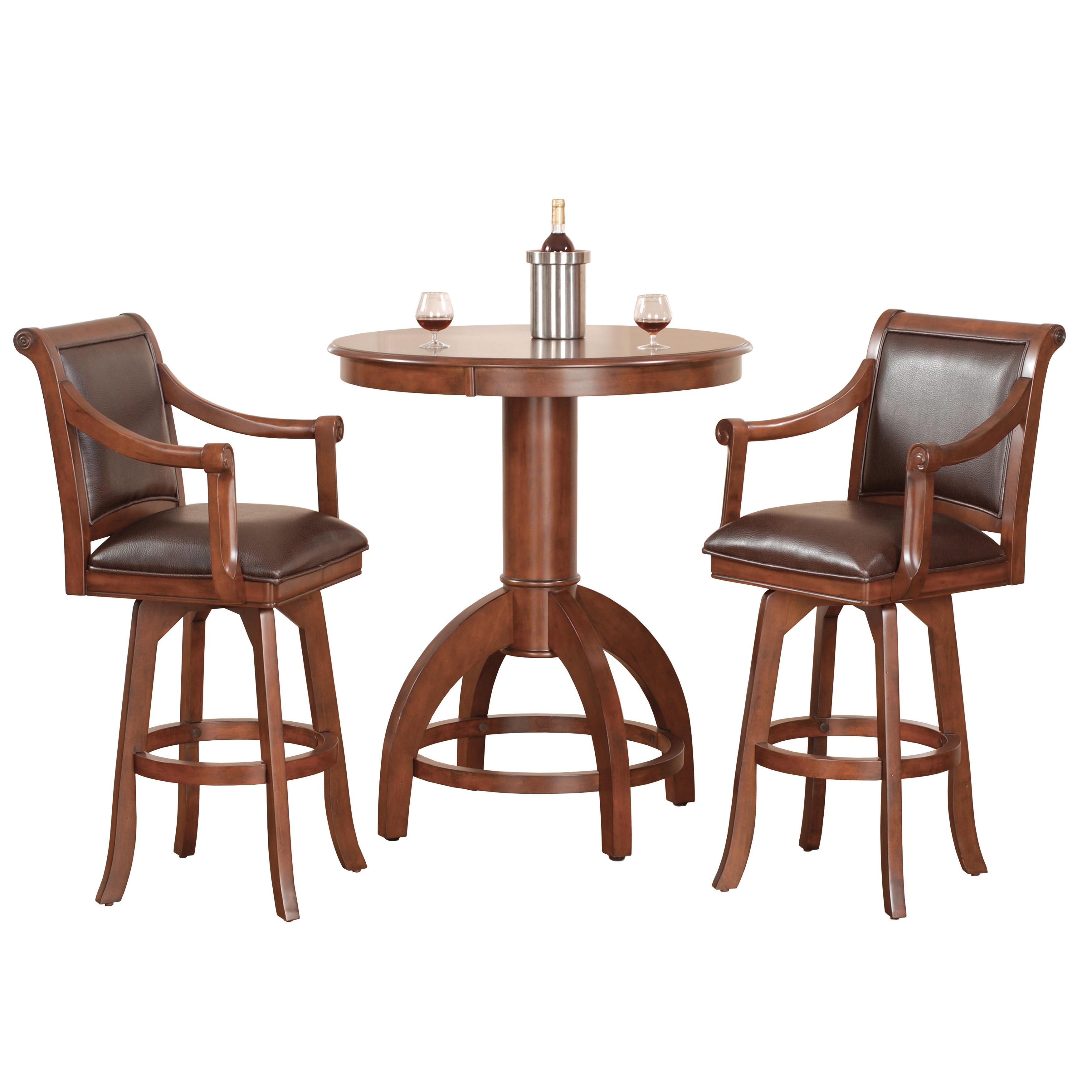 Palm Springs Medium Brown Cherry 3 Piece Bar Height Dining Set