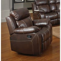 Coaster Company Myleene Chestnut Bonded Leather Glider Recliner with Pillow Arms