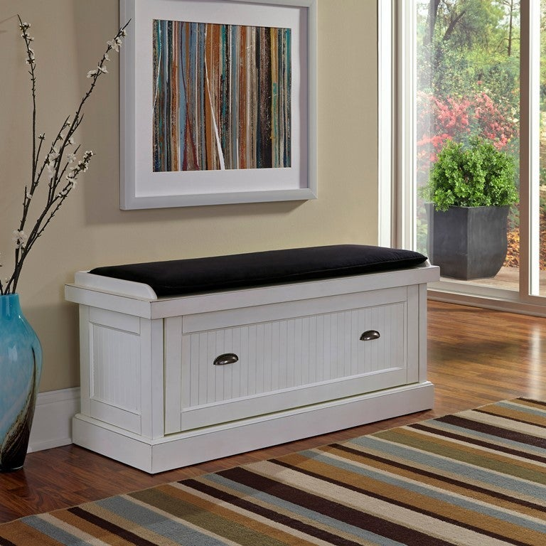 Distressed Upholstered Storage Bench