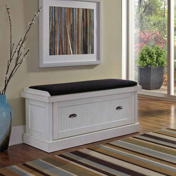 Nantucket Distressed Upholstered Bench with Storage by Home Styles