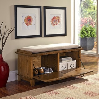 Home Styles Arts and Crafts Upholstered Storage Bench