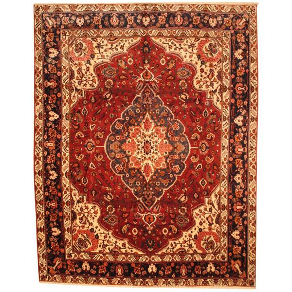 Herat Oriental Antique 1970s Persian Hand-knotted Bakhtiari Ivory/ Salmon Wool Rug - 10'3 x 13'