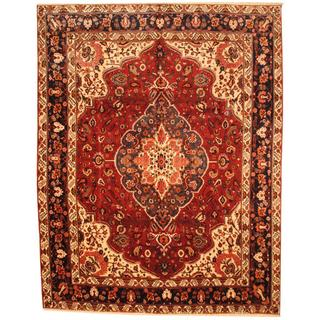 Herat Oriental Antique 1970s Persian Hand-knotted Bakhtiari Ivory/ Salmon Wool Rug (10'3 x 13')