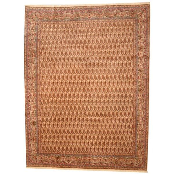 Herat Oriental Antique 1940s Persian Hand-knotted Kerman Ivory/ Salmon Wool Rug (9'10 x 13') - 9'10 x 13'