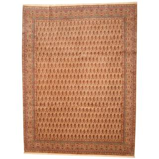 Herat Oriental Antique 1940s Persian Hand-knotted Kerman Ivory/ Salmon Wool Rug (9'10 x 13')