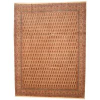 Herat Oriental Antique 1940s Persian Hand-knotted Kerman Ivory/ Salmon Wool Rug - 9'10 x 13'