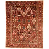 Herat Oriental Antique 1930s Persian Hand-knotted Bakhtiari Burgundy/ Rust Wool Rug (10'2 x 13')