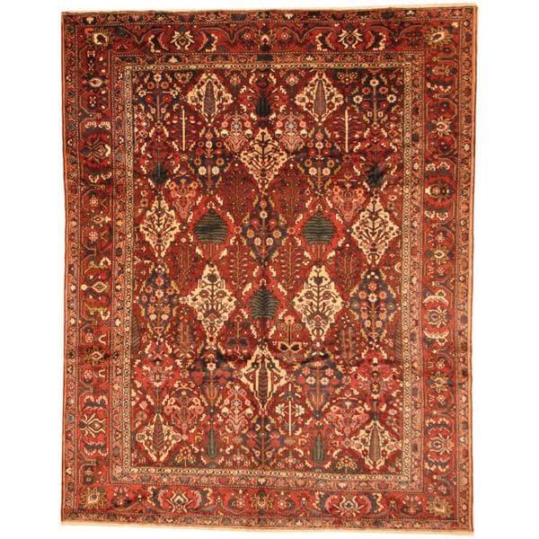 Herat Oriental Antique 1930s Persian Hand-knotted Bakhtiari Burgundy/ Rust Wool Rug (10'2 x 13') - 10'2 x 13'
