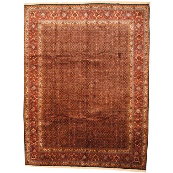 Herat Oriental Antique 1960s Persian Hand-knotted Tabriz Navy/ Rust Wool Rug (9'9 x 13') - 9'9 x 13'