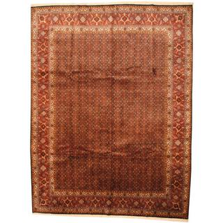 Herat Oriental Antique 1960s Persian Hand-knotted Tabriz Navy/ Rust Wool Rug (9'9 x 13')