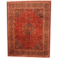 Antique 1960's Persian Hand-knotted Mashad Red/ Navy Wool Rug (9'9 x 12'7)