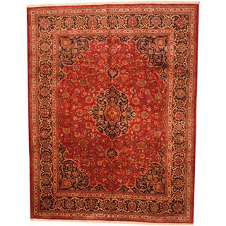 Handmade Antique 1960's Persian Hand-knotted Mashad Red/ Navy Wool Rug - 9'9 x 12'7