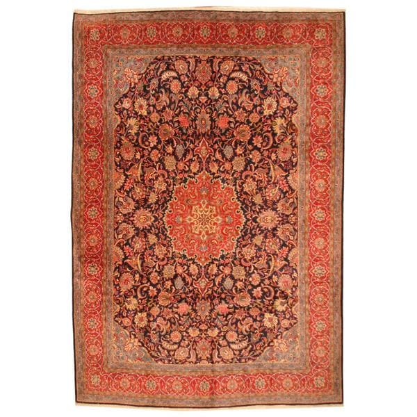 Herat Oriental Antique 1960s Persian Hand-knotted Kashan Navy/ Red Wool Rug - 9'10 x 14'5