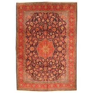 Herat Oriental Antique 1960s Persian Hand-knotted Kashan Navy/ Red Wool Rug (9'10 x 14'5)