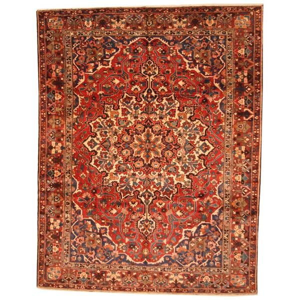 Vintage Persian Bokhara Wool Area Rug 10 X 13: Shop Antique 1930's Persian Hand-knotted Baktiari Red