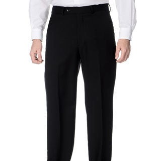 Palm Beach Men's Stretchable Waistband Flat Front Black Pant