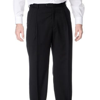 Palm Beach Men's Stretchable Waistband Pleated Front Black Pant