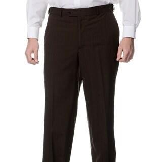 Palm Beach Men's Flat Front Self Adjusting Expander Waist Brown Pant