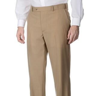Palm Beach Men's Camel Self-adjusting Expander Waist Flat-front Pants