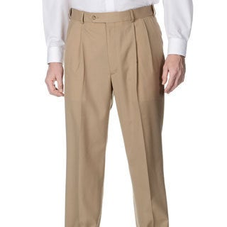 Palm Beach Men's Self Adjusting Expander Waist Pleated Front Camel Pant