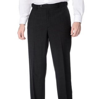Palm Beach Men's Flat Front Self Adjusting Expander Waist Charcoal Grey Pant