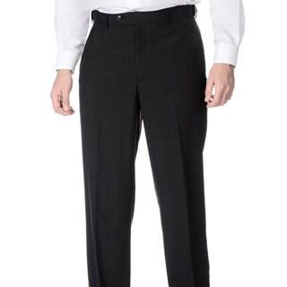 Palm Beach Men's Flat Front Self Adjusting Expander Waist Charcoal Grey Pant (Option: 35r)