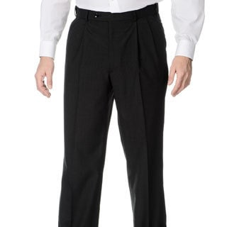 Palm Beach Men's Pleated Front Charcoal Self Adjusting Expander Waist Pant