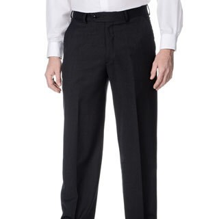 Palm Beach Men's Stretchable Waistband Flat Front Charcoal Pant