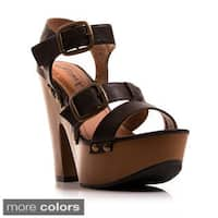 Gomax Women's 'Jacqueline 16' Studded Ankle Strap Chunky Heel Sandals