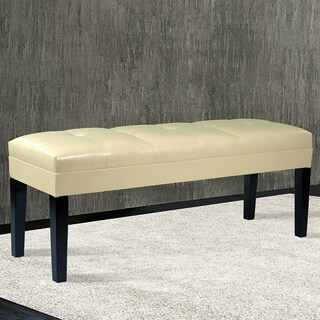 Armen Living Howard Button-tufted Bonded Leather Bench