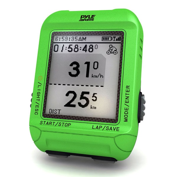 Pyle Green Multi-Function Digital LED Sports Bicycling Computer Device