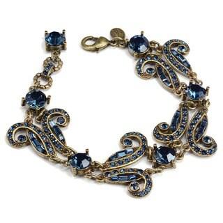 Sweet Romance Art Deco Vintage Marquee Blue Crystal Bracelet