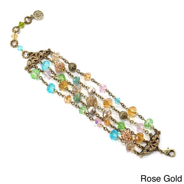 Sweet Romance Crystal Bead Multi Strand Bracelet