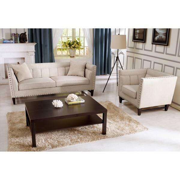 Amazing Shop Baxton Studio Stapleton Beige Linen Modern Sofa Set Spiritservingveterans Wood Chair Design Ideas Spiritservingveteransorg